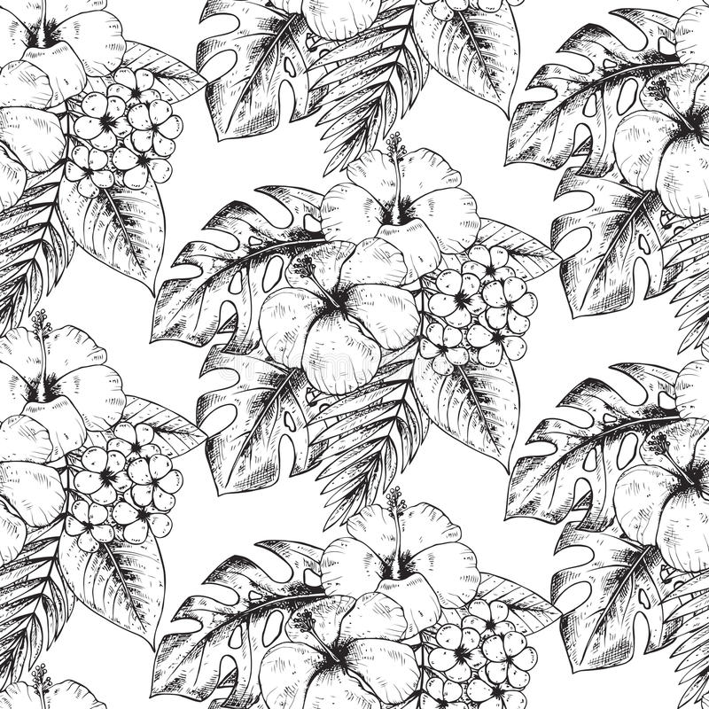 Seamless pattern with hand drawn tropical plants and flowers. Seamless pattern with black and white hand drawn tropical plants and flowers with watercolor vector illustration