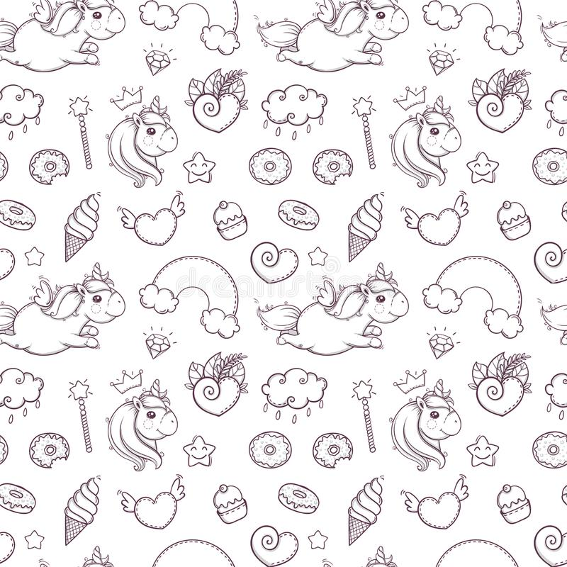 Seamless pattern of hand drawn unicorns on white background. Coloring page for kids and adult. Vector illustration. vector illustration