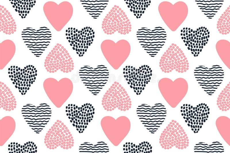 Seamless pattern with hand drawn Valentine hearts. royalty free illustration