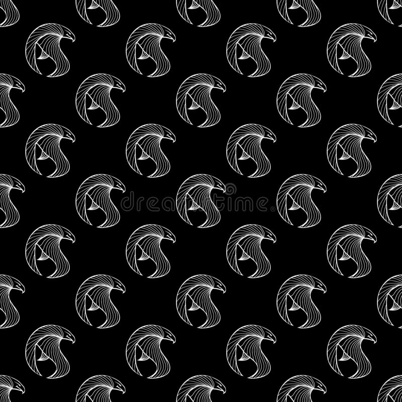 Seamless pattern of hand drawn vector hawk isolated on black background. Fantastic dragon icon. Freehand seamless silhouette of. Mythology aminal. Fantasy royalty free stock image