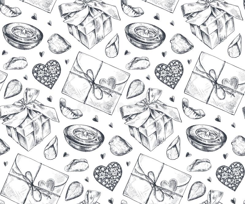 Seamless pattern with hand drawn vintage valentine and wedding day elements in sketch style. royalty free stock photography
