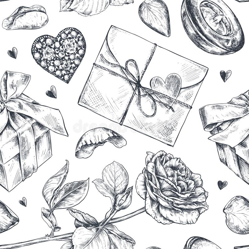 Seamless pattern with hand drawn vintage valentine and wedding day elements in sketch style royalty free stock photos