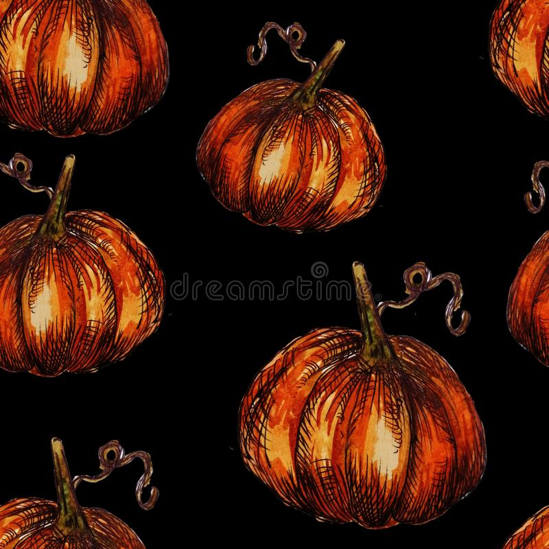 Seamless pattern hand-drawn watercolor pumpkins. It is the perfect for Thanksgiving Day, Halloween, greeting card. Print of black. Background, autumn, october vector illustration