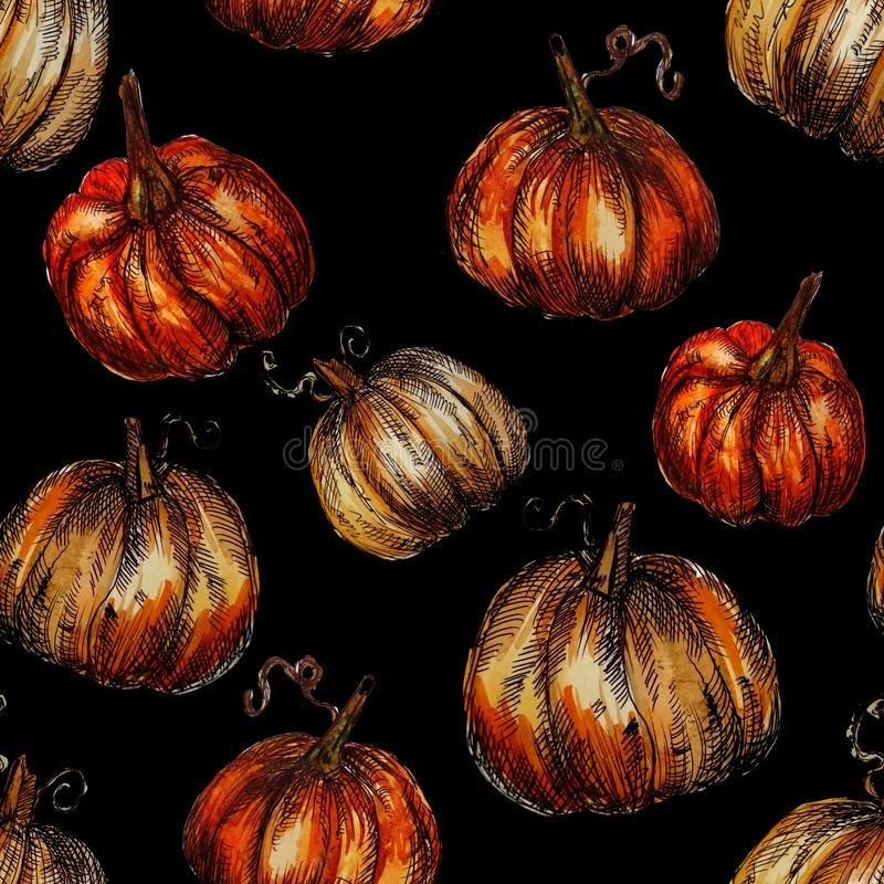 Seamless pattern hand-drawn watercolor pumpkins. It is the perfect for Thanksgiving Day, Halloween, greeting card. Print of black. Background, autumn, october stock illustration