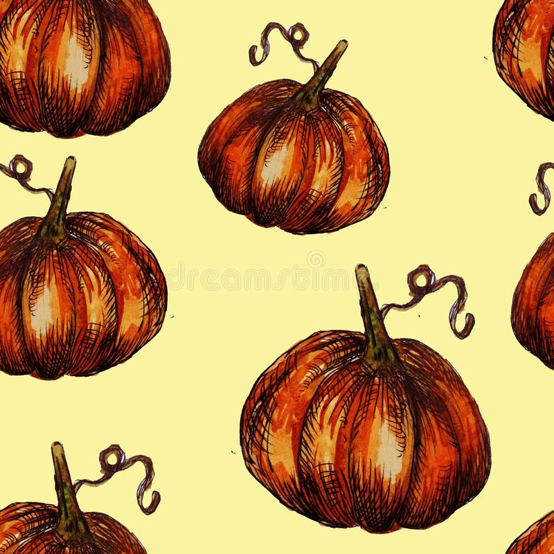 Seamless pattern hand-drawn watercolor pumpkins. It is the perfect for Thanksgiving Day, Halloween, greeting card. Print of. Delicate beige background, autumn royalty free illustration