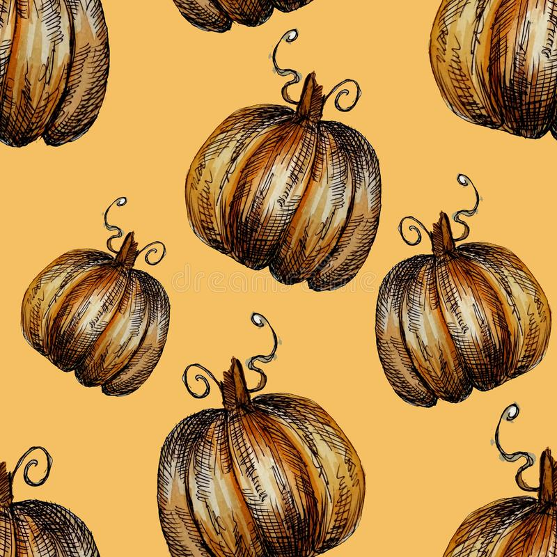 Seamless pattern hand-drawn watercolor pumpkins. It is the perfect for Thanksgiving Day, Halloween, greeting card. Print of. Delicate beige background, autumn vector illustration