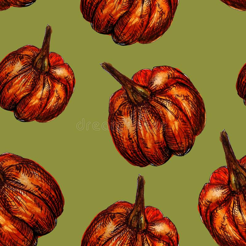 Seamless pattern hand-drawn watercolor pumpkins. It is the perfect for Thanksgiving Day, Halloween, greeting card. Print of green. Background, autumn, october stock illustration