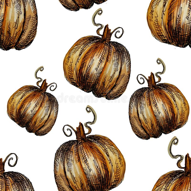 Seamless pattern hand-drawn watercolor pumpkins. It is the perfect for Thanksgiving Day, Halloween, greeting card. Print of white. Background, autumn, october stock illustration
