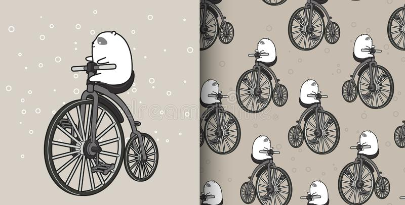 Seamless pattern hand drawn white bear is riding vintage bicycle vector illustration