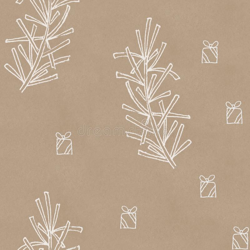 A seamless pattern with hand drawn white Christmas tree branches and gift boxes on kraft paper background. Christmas background vector illustration