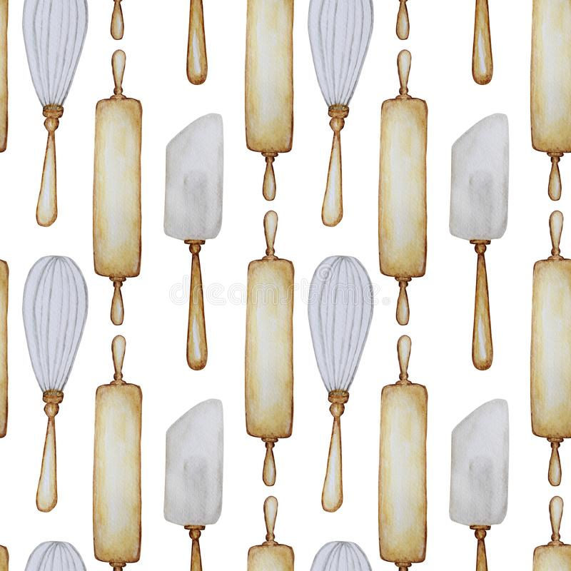 Seamless pattern Hand drawn Wooden Kitchen accessories Set for baking. Watercolor illustration, isolated on white stock illustration