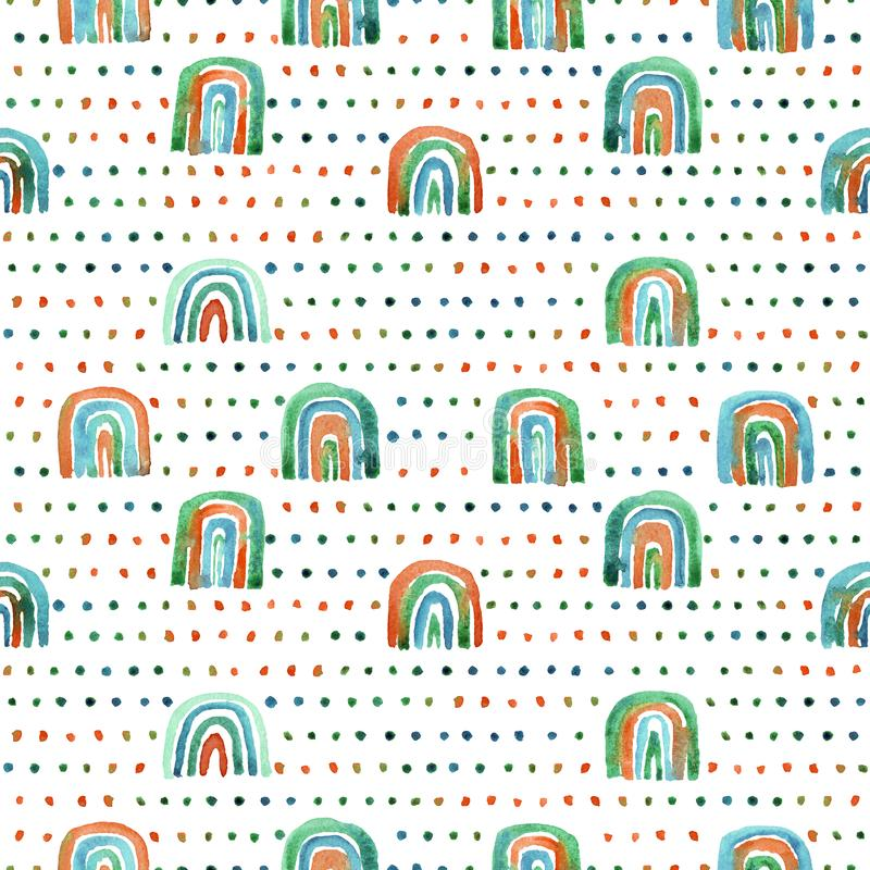 Seamless pattern of hand made watercolor rainbows. royalty free stock photography