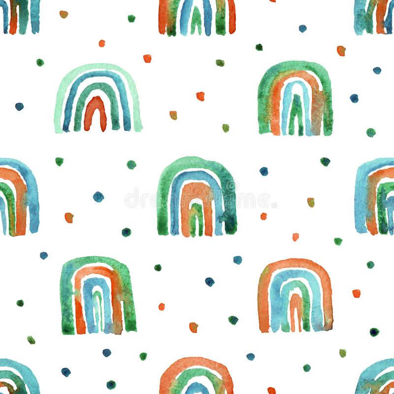 Seamless pattern of hand made watercolor rainbows stock photo