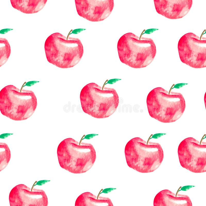 Seamless pattern with hand painted watercolor apples. stock illustration