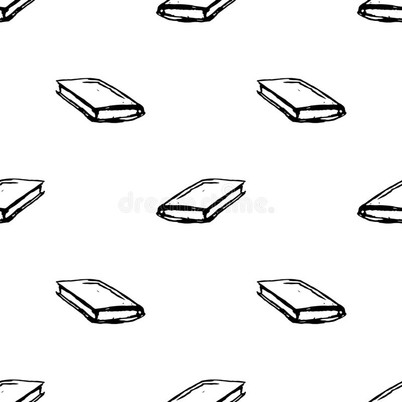 Seamless pattern Handdrawn book doodle icon. Hand drawn black sketch. Sign symbol. Decoration element. White background. Isolated royalty free illustration