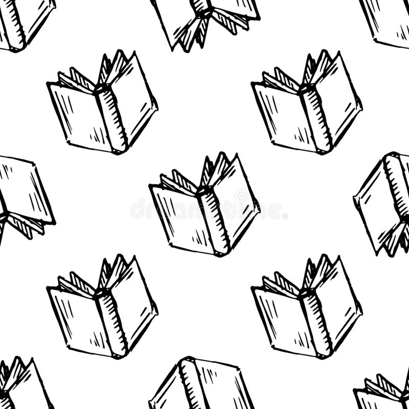 Seamless pattern Handdrawn book doodle icon. Hand drawn black sketch. Sign symbol. Decoration element. White background. Isolated stock illustration
