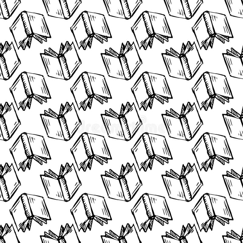 Seamless pattern Handdrawn book doodle icon. Hand drawn black sketch. Sign symbol. Decoration element. White background. Isolated vector illustration
