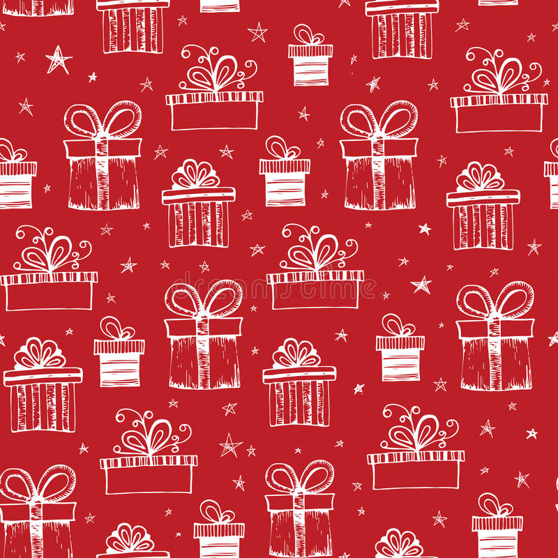 Seamless pattern with handdrawn gift boxes royalty free illustration