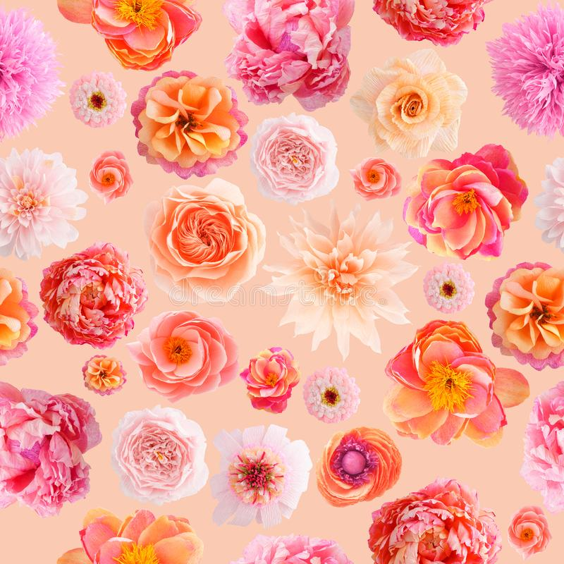 Crepe paper flower seamless pattern pastel colors. Seamless pattern with handmade crepe paper flowers on apricot colored background stock images