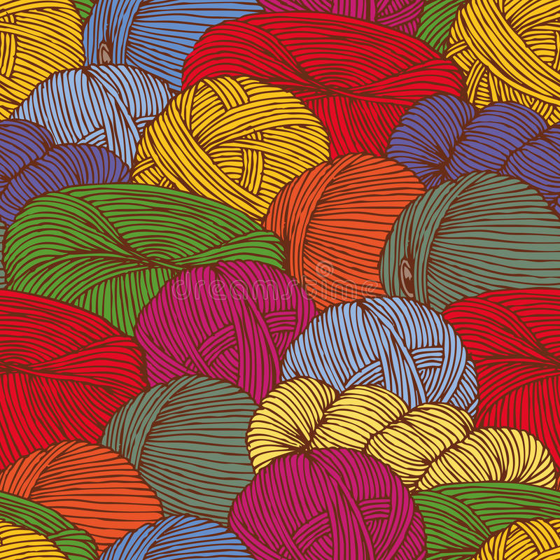 Seamless Pattern with Hanks of Yarn royalty free illustration