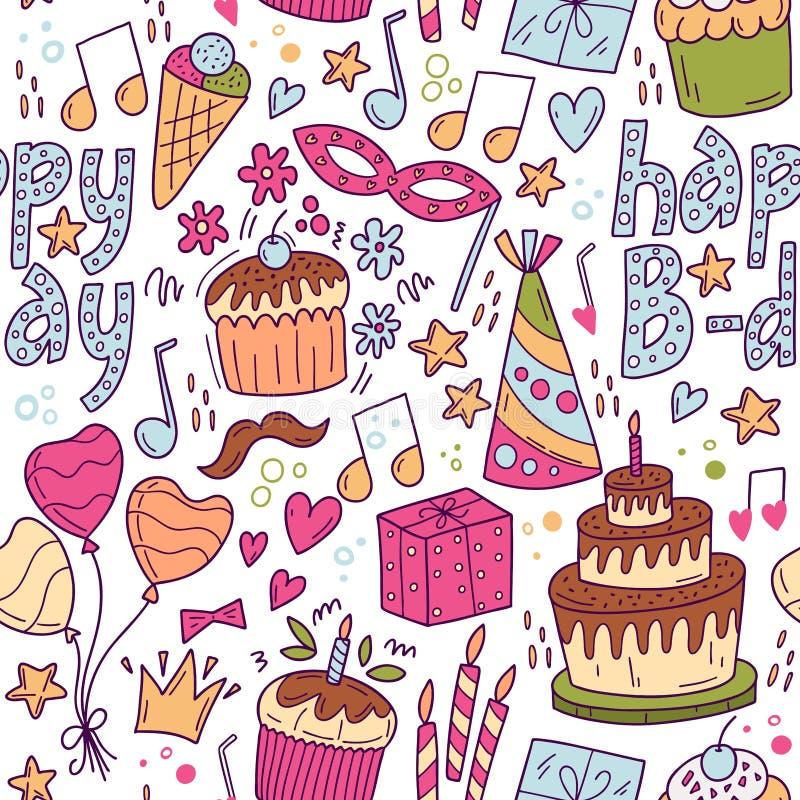 Seamless pattern happy B-day. Holiday, event, anniversary party invitation card. Vector cartoon illustration stock photo