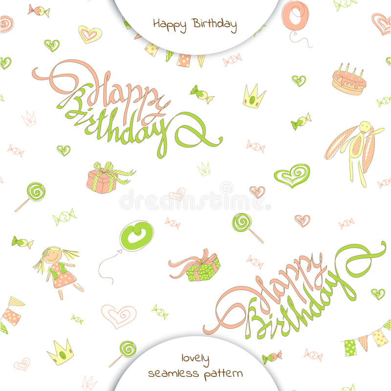 Seamless pattern happy birthday in doodle style. Lettering happy birthday on a background of festive flags, gifts, candy, toys and hearts. Vector illustration vector illustration
