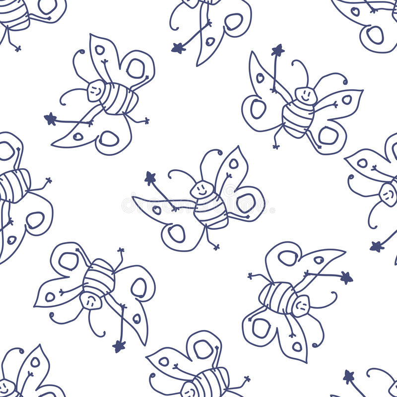 Seamless pattern with happy butterfly fairy vector illustration