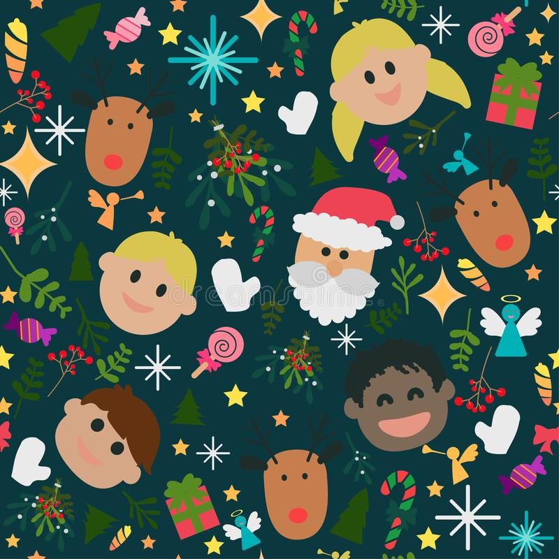 Seamless pattern of happy cute Christmas royalty free stock photo