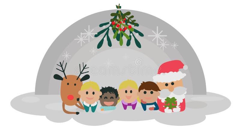 Seamless pattern of happy cute Christmas stock photo
