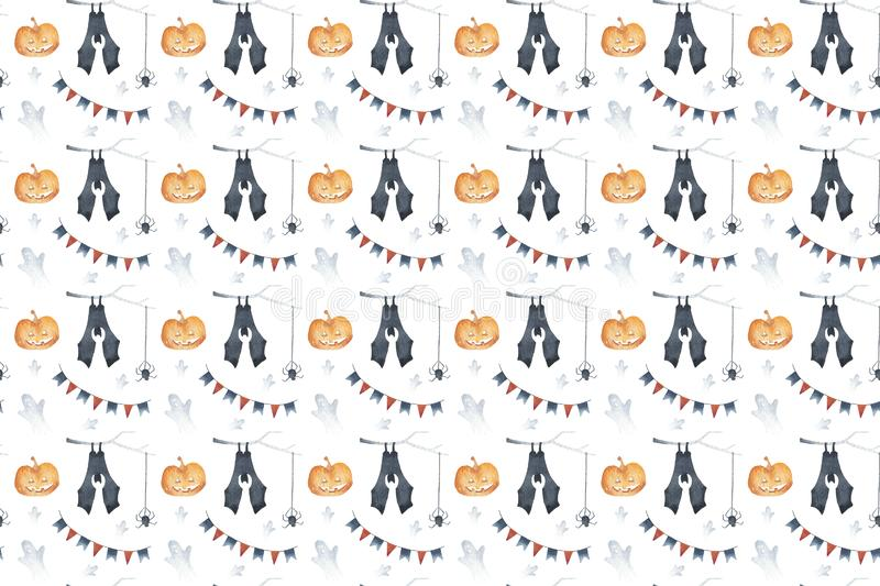 Seamless pattern happy halloween party elements set with bat on a branch, spider, pumpkin, ghost. Hand drawing watercolor isolated. Seamless pattern happy royalty free stock photography