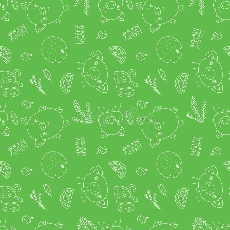 Seamless pattern. Happy New Year 2019. Vector pig, mandarin, ora. Nge and Christmas tree branch. Winter green background royalty free illustration