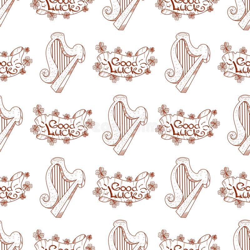 Seamless pattern with a harp and a banner of good luck.  vector illustration