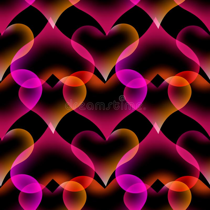 Seamless pattern Heart Abstract liquid lava lamp colorful background design royalty free illustration