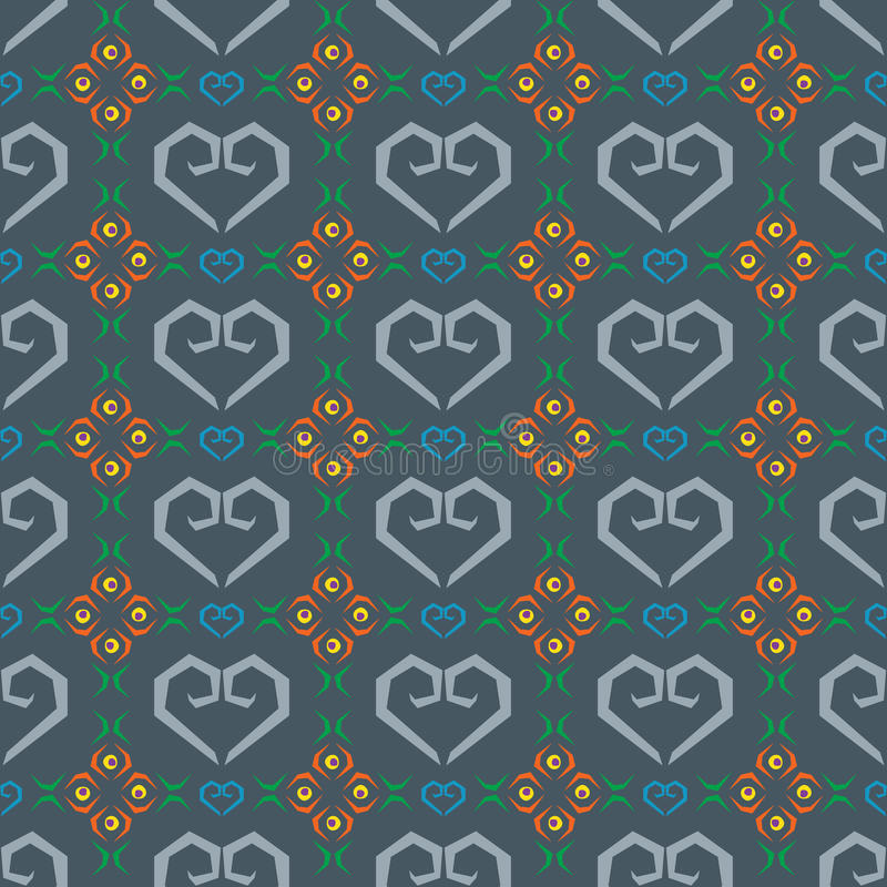 Seamless pattern heart and flower in blue background. Seamless pattern vector heart and flower in blue background vector illustration