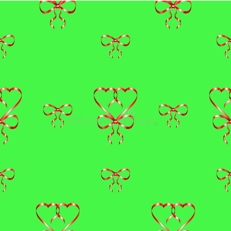 Seamless pattern with heart shapes made of red silk ribbon with a bow on a bright green background. vector illustration