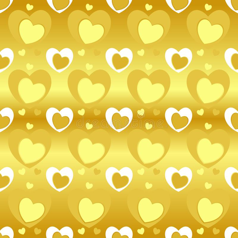 Seamless pattern of heart texture in yellow color, different heart sizes on gold gradient yellow background. stock illustration