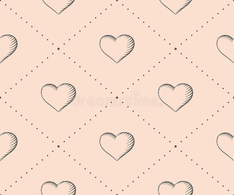 Seamless pattern with heart in vintage style engraving on a beige background for Valentine's Day. Hand drawn. Vector Illustration stock illustration