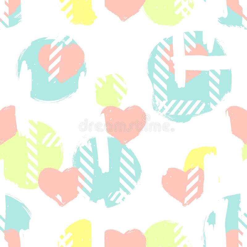 Seamless pattern with hearts and abstract figures. Valentine`s Day seamless pattern stock illustration