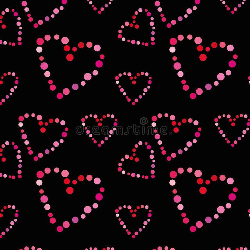 Seamless pattern with hearts on a black background. stock illustration