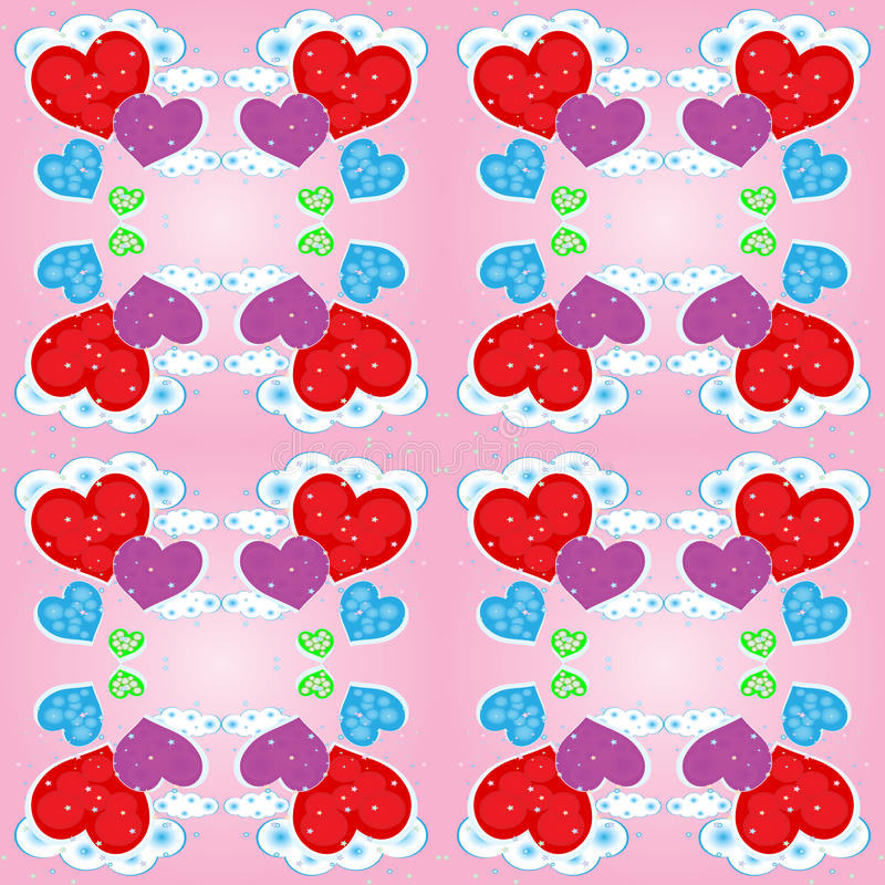 Download Seamless Pattern With Hearts And Clouds Stock Vector - Image: 22985349