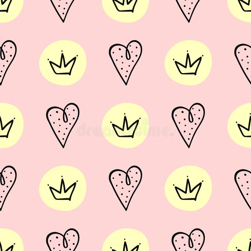 Seamless pattern with hearts and crowns drawn by hand. Cute print for girls. Vector illustration stock illustration
