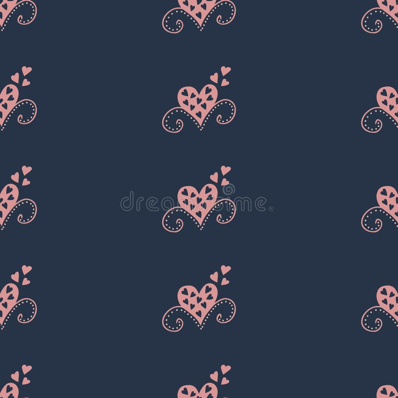 Seamless pattern with hearts. Curtains illustration. vector illustration