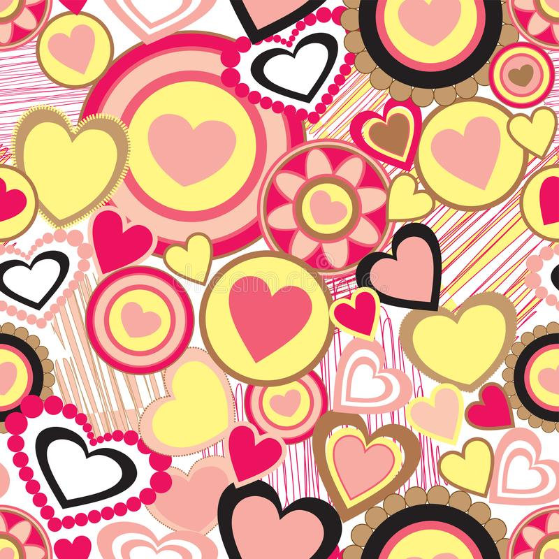 Seamless pattern of various hearts design pattern. Seamless pattern of hearts in different shapes and sizes in colors of pink and yellow stock illustration