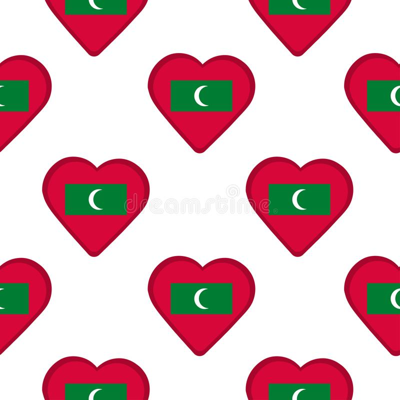 Seamless pattern from the hearts with flag of Maldives. royalty free illustration