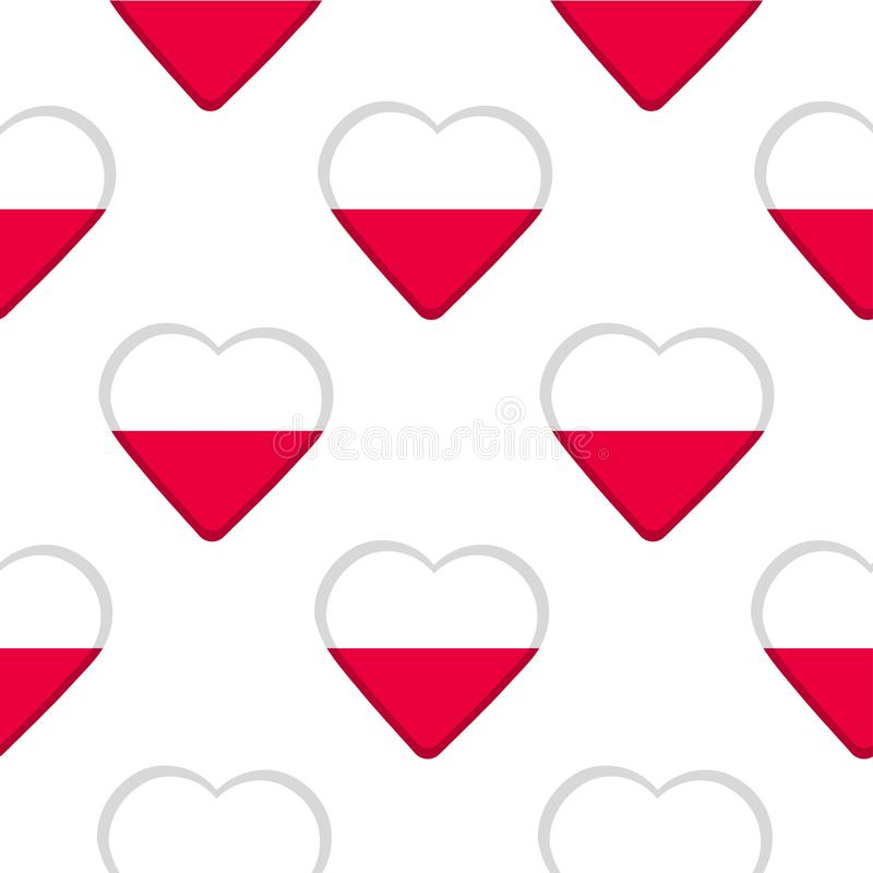 Seamless pattern from the hearts with flag of Poland. stock illustration
