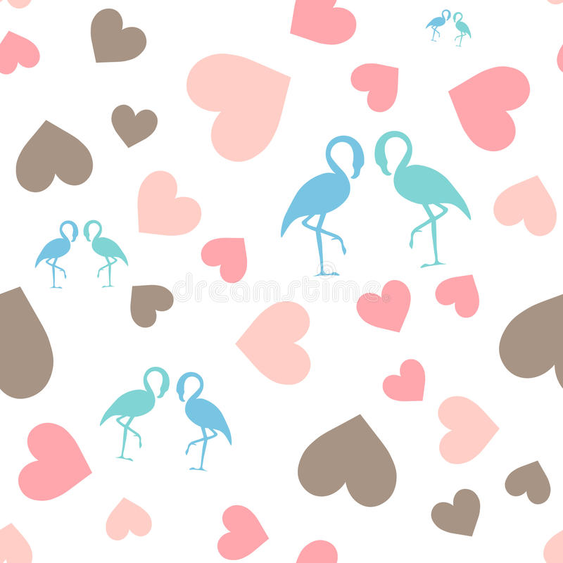 Seamless pattern with hearts and flamingo. royalty free stock images
