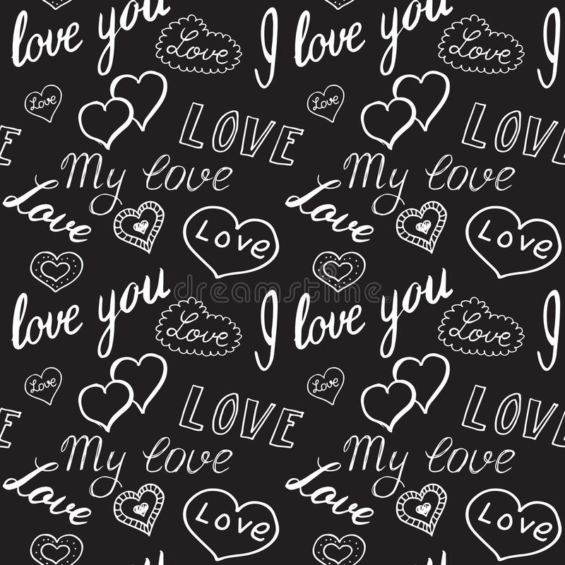 Seamless pattern of hearts and handwriting. valentines day royalty free illustration