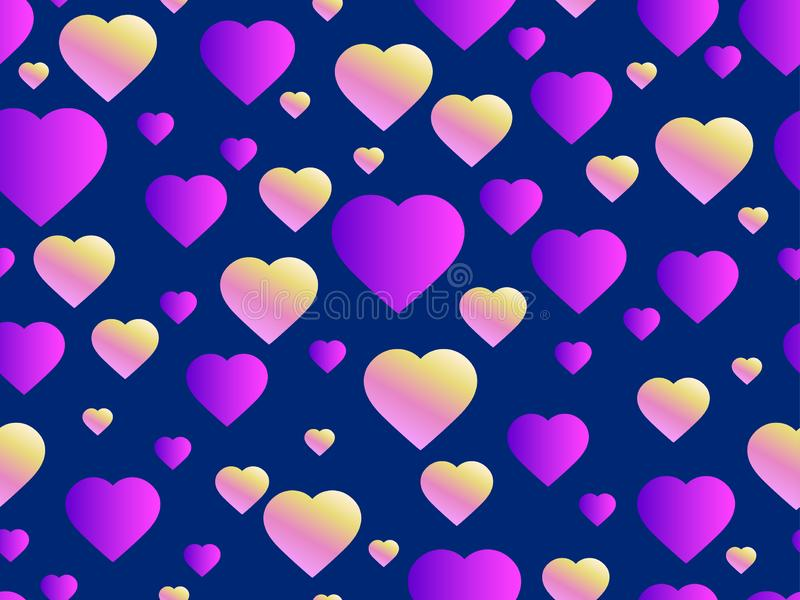 Seamless pattern with hearts. Happy Valentine`s day, 14th of February. Bright hearts with gradient. Vector. Illustration royalty free illustration