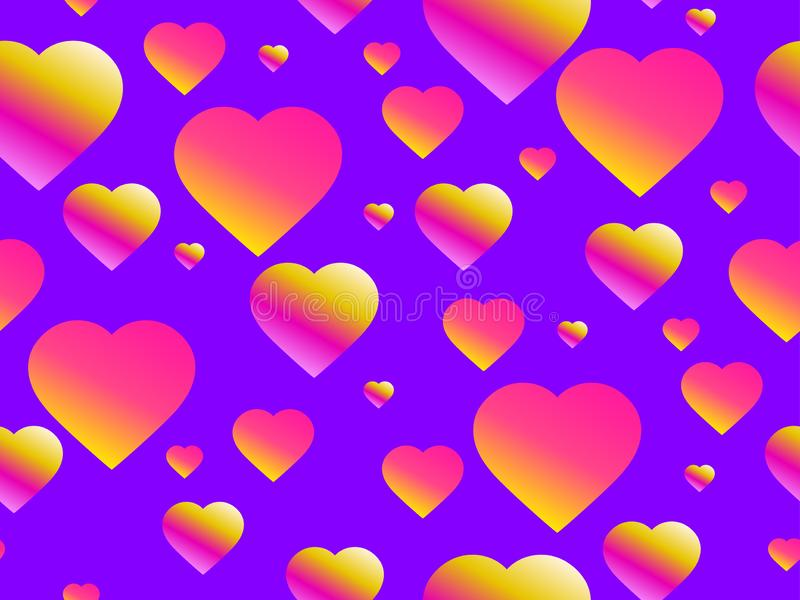 Seamless pattern with hearts. Happy Valentine`s day, 14th of February. Bright hearts with gradient. Vector. Illustration stock illustration