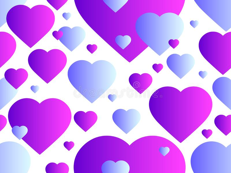 Seamless pattern with hearts. Happy Valentine`s day, 14th of February. Bright hearts with gradient. Vector. Illustration vector illustration
